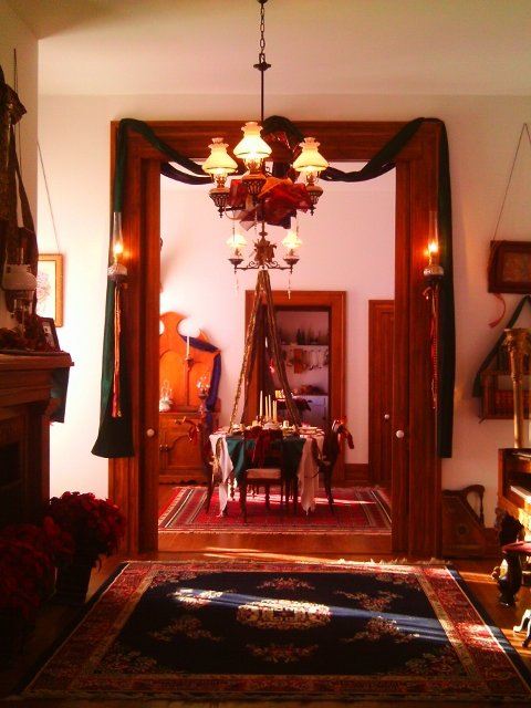 General Custer's parlor, decorated for Christmas