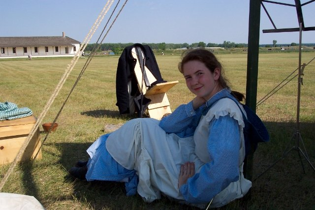 Me as a frontier army laundress at Fort Lincoln.